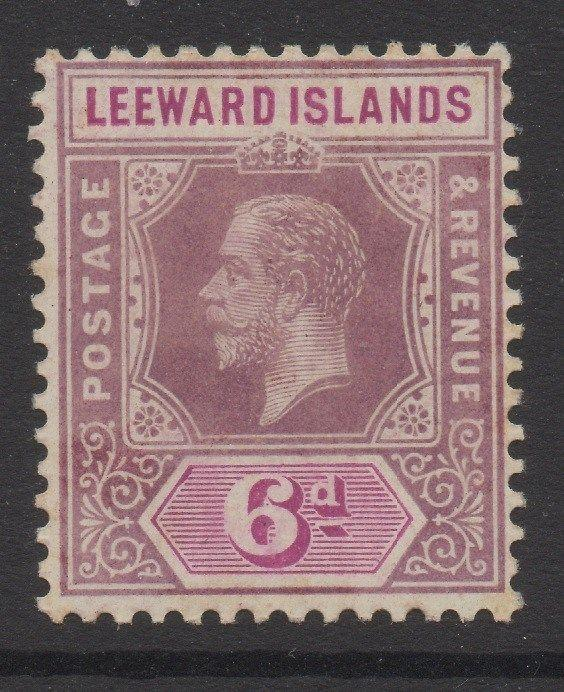 LEEWARD ISLANDS;   1912 early GV issue Mint hinged 6d. value, Shade