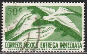 MEXICO E22, 50c 1950 Def 7th Issue Fluor printing FRONT. USED. F-VF. (1480)