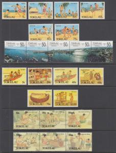 Tokelau Sc 144//172 MNH. 1987-1990 issues, 4 complete sets, VF