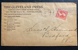 1902 Cleveland OH USA Advertising Cover To Bedford OH Cleveland Press Newspaper