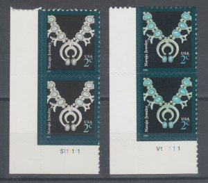 US Sc 3750 MNH. 2004 2c Navajo Necklace, both Printings Matched Plate Pairs