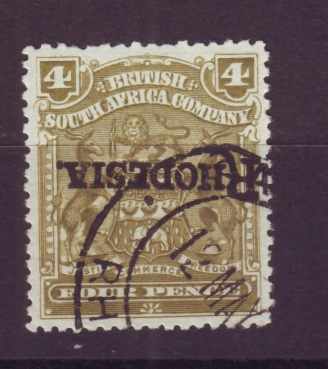 J17070 JLstamps 1909 rhodesia used #87a inverted ovpt
