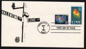 1991 Love Birds & Heart Globe Sc 2535 2536 Apple Craft cachet