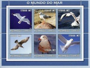 Mozambique 2002 MNH Gulls Seagulls 6v M/S Gull Birds Stamps