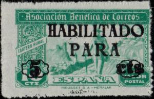 ESPAGNE ESPAÑA Sello Benéfico 5c/10c verde (hab. negra con serifa) Cartero Rural