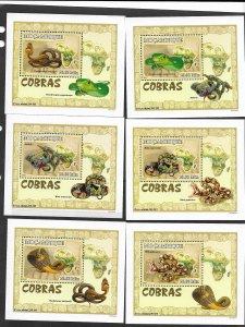 Mozambique MNH 6-S/S Cobras Snakes Reptiles