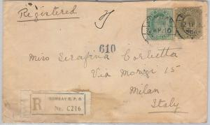 INDIA  - POSTAL HISTORY - REGISTERED COVER to ITALY 1910