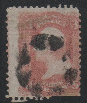 US Stamps 1867 Washington Sc94 3c Red Stamp Used F