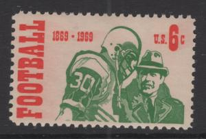 US 1969 Football Player & Coach  6c Stamp Scott 1382 MNH