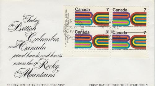1971 Canada British Columbia enters Confederation (552) FDC