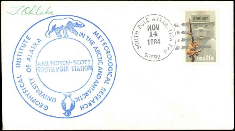 1984 SOUTH POLE ANTARCTIC WITH UNIVERSITY OF ALASKA CACHET + SIGNED