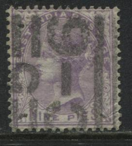 India 1874 9 pies lilac used