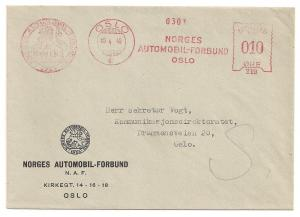 Norway: 10o Meter Stamp April 1946 Auto Club slogan Fresh VF