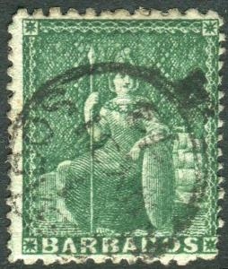 BARBADOS-1872 ½d Green Perf 11-13x14½-15½.  A fine used example Sg 56