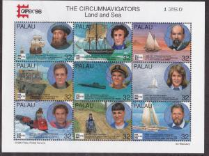 Palau # 389-390, Circumnavigators Land & Sea, Mint NH