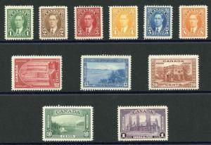 Canada SG357-67 1937-38 Postage Set of 11 M/M