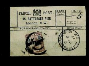 GB PARCEL POST LABEL London *Battersea Rise* 1899 {samwells-covers} CX187