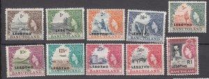 J27494 1966 lesotho set mh #5-14 queen designs