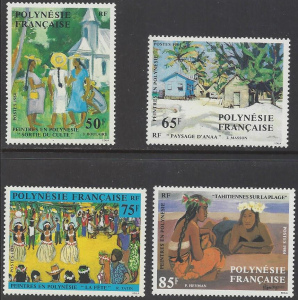 French Polynesia #669-72, MNH set, various paintings, Issued 1995