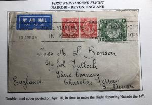 1934 Nairobi Kenya First Northbound Flight Cover FFC To Devon England