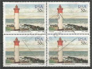 SOUTH AFRICA, 1988, 50c block, Lighthouses Scott 717