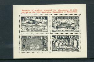1954 Australian Expedition to Antarctica Souvenir Sheet Poster Stamp Cinderella