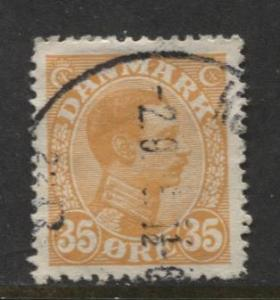 Denmark - Scott 114 - King Christian X Issue -1913 - Used - Single 35o Stamp