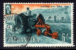 Tanganyika 1961 - 64 QE2 5/-d Farming Uhura Used SG 117 ( D1157 )