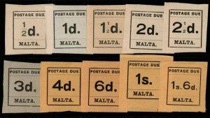 MALTA SGD1/10 1925 POSTAGE DUE SET MTD MINT