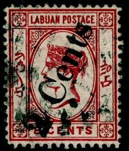 LABUAN SG26, 2c on 8c carmine, USED. Cat £130.