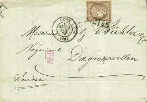 France 1875 Lyon To Switzerland Cover