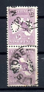 Australia KGV 9d violet OS perfin fine used pair WS16643