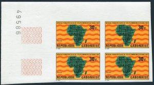Gabon 271 imperf block/4,MNH.Mi 424B. African Telecommunication System,1971.Map.