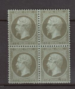 France #22a (Maury #19c) VF Mint Block **With Certificate**