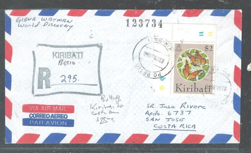 KIRIBATI (PP2408B) $2.00 BUTTERFLY ON REG COVER TO COSTA RICA   WOW!!