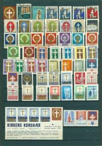 Denmark. Christmas,Poster Stamp. Collection 2 Pages.   The Church Cross Army