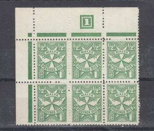 Malta 1967 1/2d Postage Due Margin Block Of 6 SGD28 MNH J5580