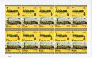 Bequia 1987 Locomotives #5 (8 Pairs) 8 Mini-Sheetlets SPECIMEN UNFOLDED MNH