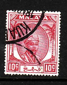 Malaya Pahang-Sc#56-used 10c plum-1950-
