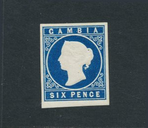 GAMBIA 1869, 6d BLUE, VF MLH SG#3 CAT£550 (SEE BELOW)