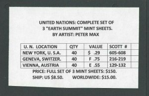 United Nations Complete Set Of 3 Earth Summit Mint Sheets By Artist Peter Max