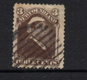 Newfoundland Sc 51 1887 3 c umber brown Victoria stamp used