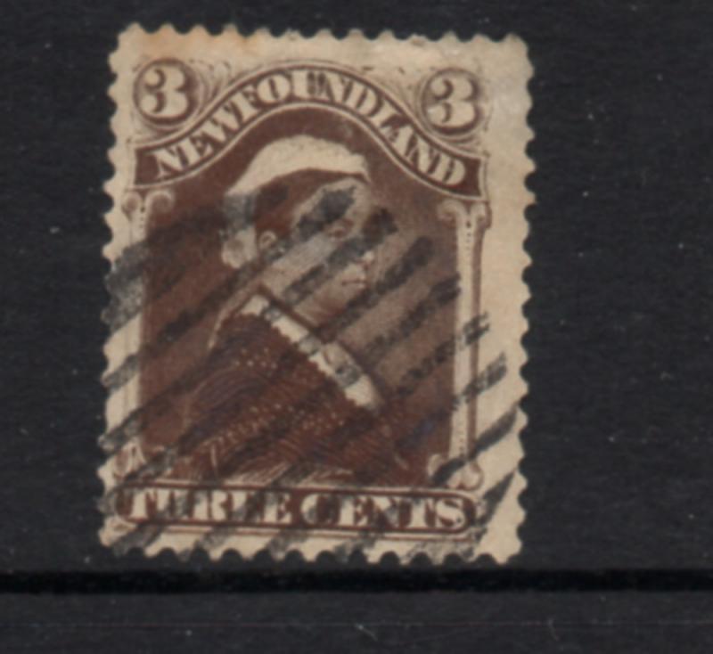 Newfoundland Sc 51 1887 3 c umber brown Victoria stamp used