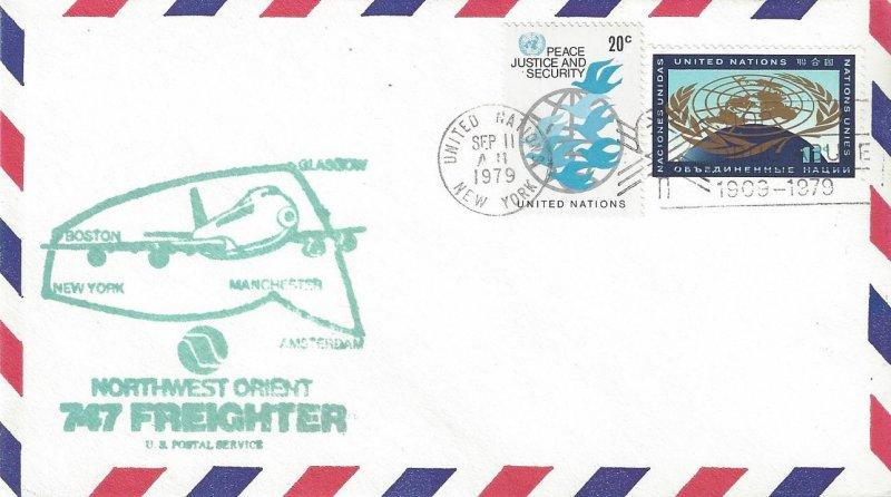 United Nations UN First Flight Glasgow, Northwest Orient, SEP 11, 1979