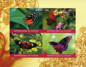 Chad 2018 MNH Butterflies 4v IMPF M/S Papillons Insects Butterfly Stamps