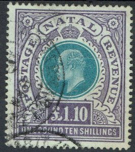 NATAL 1902 KEVII 1 POUND 10/- USED