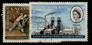 RHODESIA & NYASALAND QEII SG38-39, complete set, FINE USED.