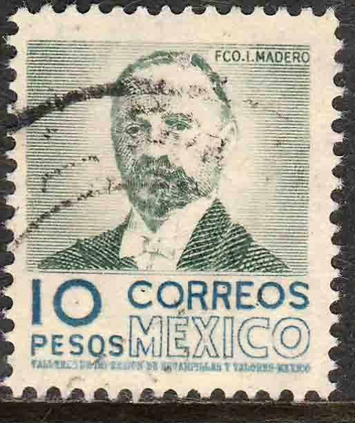 MEXICO 884a, $10Pesos 1950 Definitive 2nd Printing wmk 300. USED. F-VF. (1415)