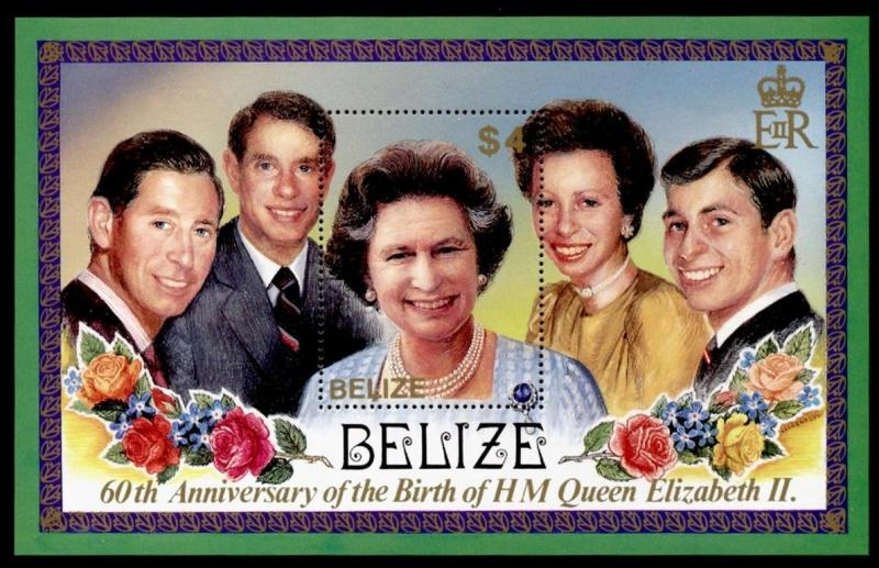 Belize 811 MNH Queen Elizabeth 60th Birthday, Flowers, Prince Charles, Andrew