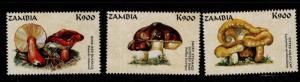 Zambia Scott 750d-f MNH** 1998 Mushroom stamps